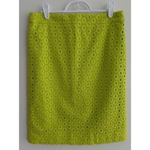 J.CREW Neon Green Eyelet No. 2 Pencil Skirt, sz 2